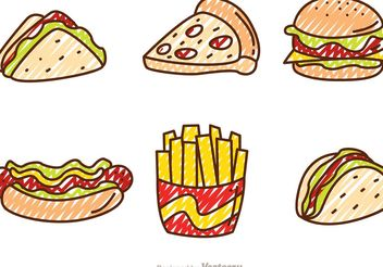 Scribble Fast Food Vectors - vector gratuit #146873