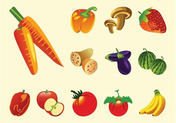 Fruits And Vegetables Vector - Free vector #146933
