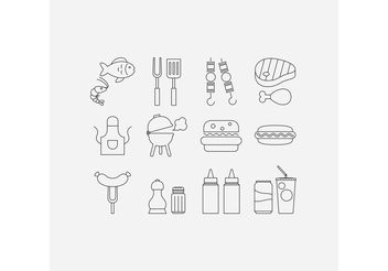 Camp Food Vector Line Icons - Free vector #146993