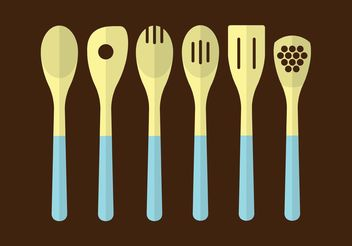 Wooden Kitchen Utensils - vector gratuit #147333