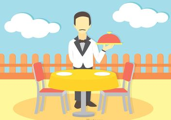 Illustration Of Waiter Vector - Free vector #147453