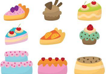 Cute Cake Vectors - Kostenloses vector #147603