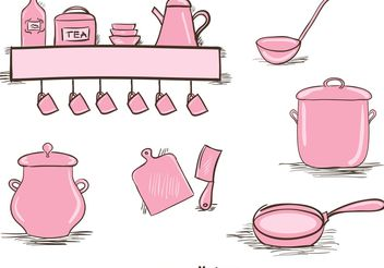 Free Vintage Kitchen Utensils Set - Free vector #147653