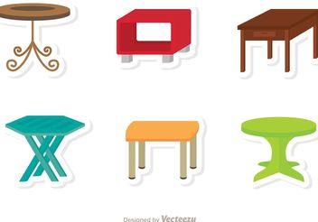 Table Flat Icons Vector - vector gratuit #147703
