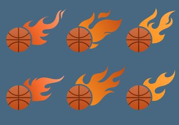 Flaming Basketball Vector Set - Free vector #148203