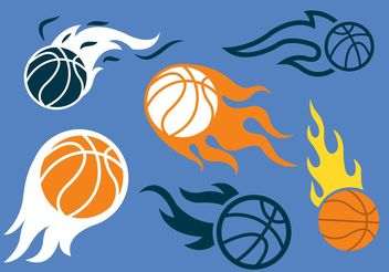 Basketball on Fire Vector Pack - Free vector #148313
