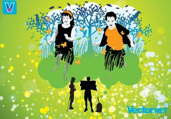 Running Children - vector #148363 gratis