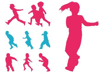 Running Kids Silhouettes - vector gratuit #148653