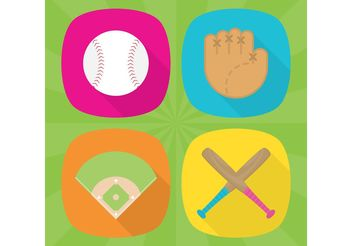 Baseball Vector Flat Icons - бесплатный vector #149133