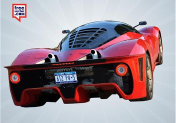 Red Ferrari Rear - vector gratuit #149143