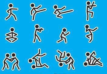 Stick Figure Martial Art Vectors - Kostenloses vector #149223
