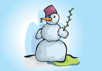 Snowman Winter Scene Illustration - vector gratuit #149243