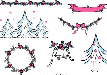Free Hand Drawn Christmas Decorations - Free vector #149323