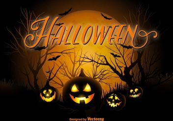 Halloween Pumpkin Night Background - Free vector #149353