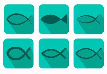 Christian Fish Symbol Vectors - Free vector #149403
