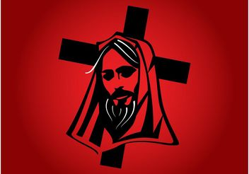 Jesus With Cross Vector - Free vector #149493