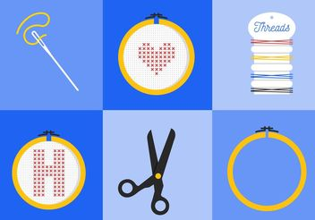Cross Stitch Vector Icons - Free vector #149573