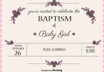 Baby Girl Baptism Vector Invitation - Free vector #149683