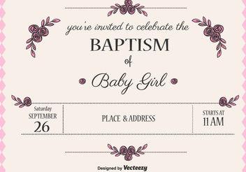 Baby Girl Baptism Vector Invitation - Kostenloses vector #149683