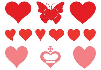 Romantic Hearts Set - Free vector #150153