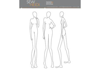 Female Fashion Croquis / Blank Fashion Sketches - Free vector #150333