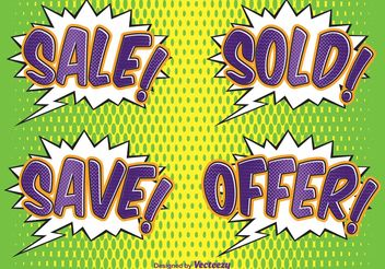Comic Style Sale Labels - vector #150343 gratis