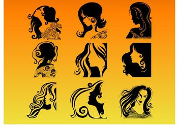 Woman Profile Silhouettes - vector gratuit #150743