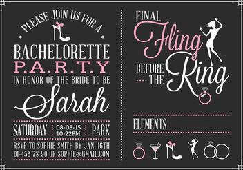 Free Bachelorette Party Invitation Vector - Kostenloses vector #150773