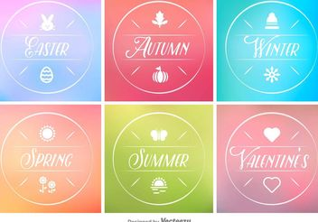 Spring, Summer, Autumn and Winter Minimal Tags - Free vector #151153