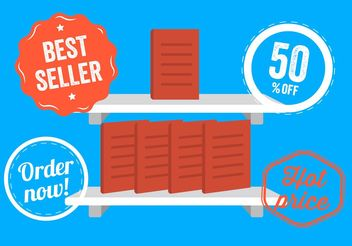 Vector Illustration of a Bookshelf and Badges - Free vector #151203