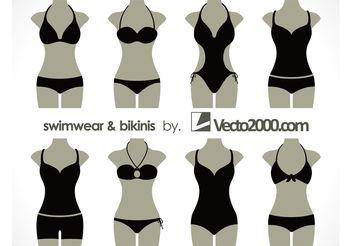 Illustration vector of swimwear and bikinis - Free vector #151223