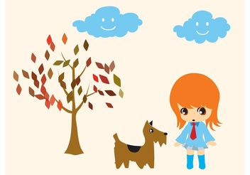 Dog Walking Girl - Free vector #151293