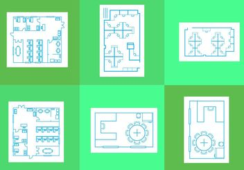 Office Floor Plan Vectors - Free vector #151613