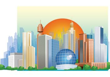 Sunset City Vector - vector #151983 gratis