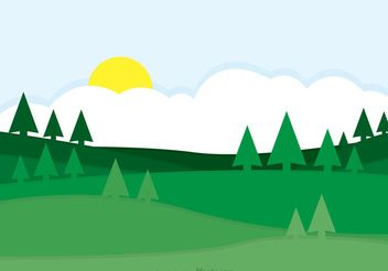 Green Rolling Hills Landscape Vector - Free vector #152563