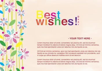 Best Wishes Card with Flowers - vector gratuit #152613