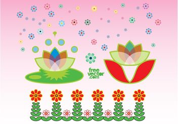 Exotic Flowers Graphics - Free vector #152653