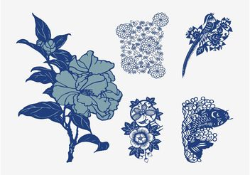 Japanese Vector Flowers - Free vector #152953