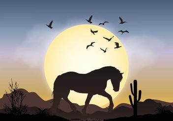 Wild Horse Landscape Illustration - Free vector #153043