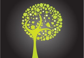 Bird In A Tree - Free vector #153133