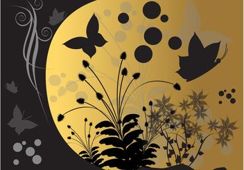 Background With Butterflies And Flowers - vector #153363 gratis