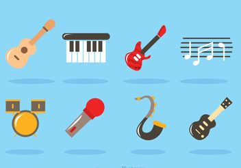Flat Music Instrument Vectors - бесплатный vector #155623