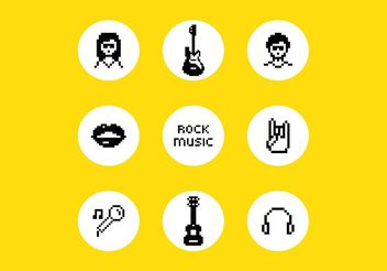 Free Vector Pixel Rock Music Symbols - Free vector #155653