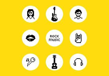 Free Vector Pixel Rock Music Symbols - Kostenloses vector #155653