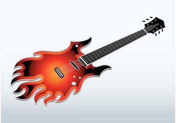 Flaming Electric Guitar - vector gratuit #155723