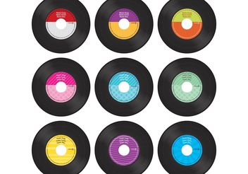 Colorful Vinyl Record Vectors - vector gratuit #156083
