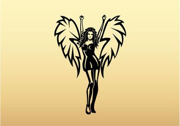 Winged Girl Vector Art - Free vector #156223