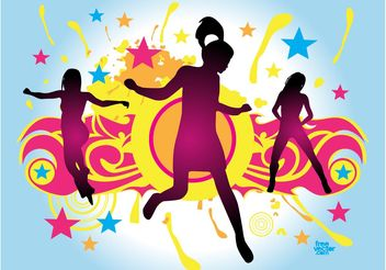 Jumping Party Girl - vector gratuit #156273