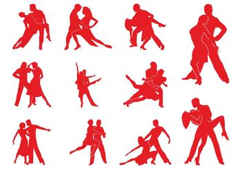 Tango Couples Silhouettes - Free vector #156383