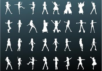 Girls Vector Silhouettes - бесплатный vector #156423